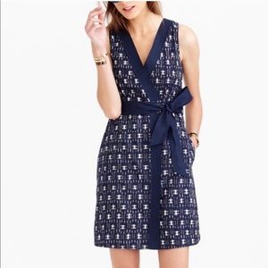 J.Crew Navy Blue Ikat Wrap Dress